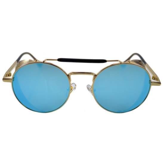 Ochelari de soare Rotunzi Steampunk Cage Albastru cu Auriu