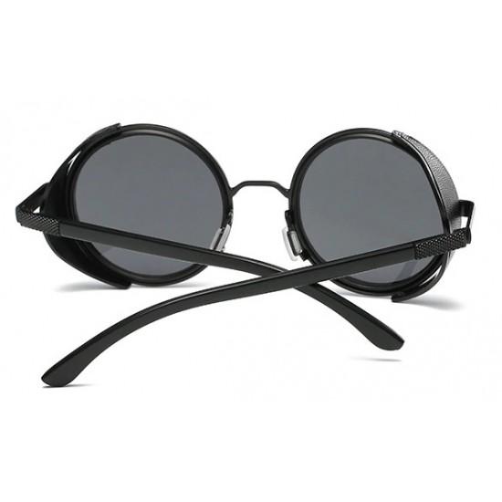 Ochelari de soare Rotunzi Steampunk insertie piele Negru