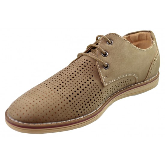 Pantofi barbati bej perforati cu sireturi