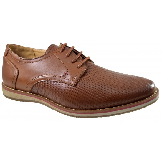 Pantofi barbatesti maro usor perforati cu sireturi