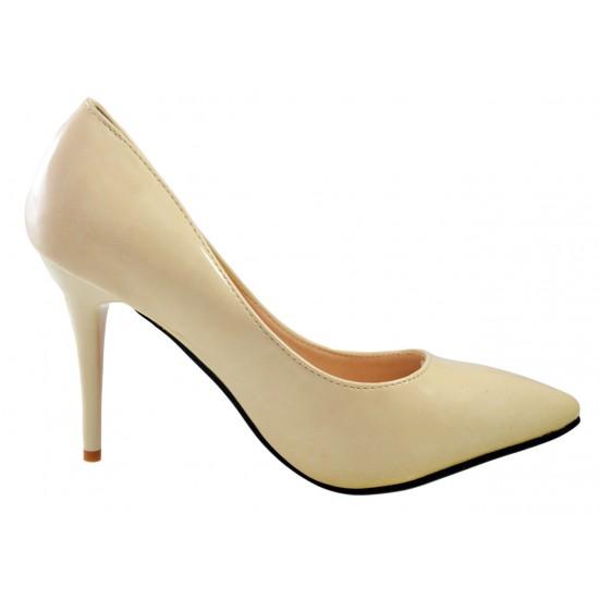 Pantofi dama Stiletto Bej cu talpa Rosie