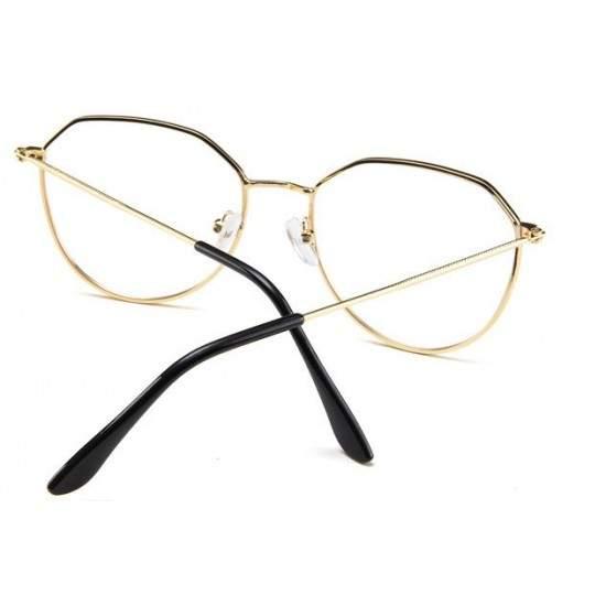 Ochelari - Rame cu lentile transparente Hexagonal Auriu
