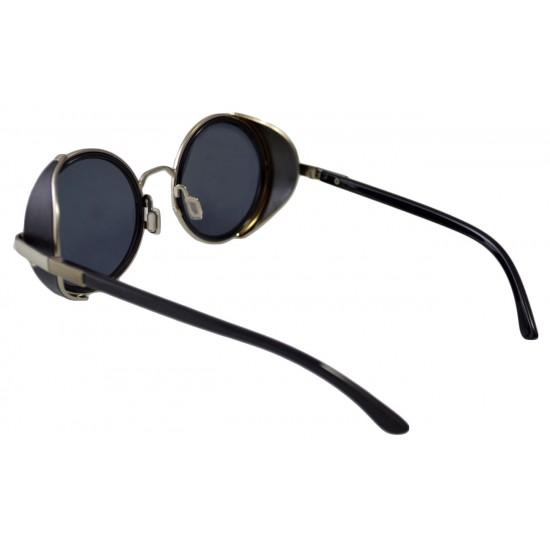 Ochelari de soare Rotunzi Steampunk Negru cu Argintiu