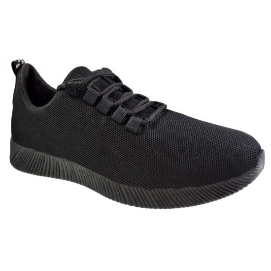 Pantofi Sport Barbati, Negri Complet din Panza cu Talpa Usoara din Spuma