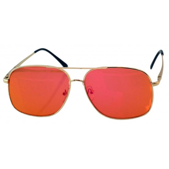 Ochelari de soare Aviator Oglinda Portocaliu inchis cu reflexii roze - Auriu