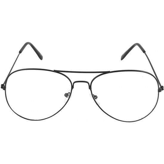 Ochelari de soare cu lentile transparente, protectie UV400 , Aviator, Negru