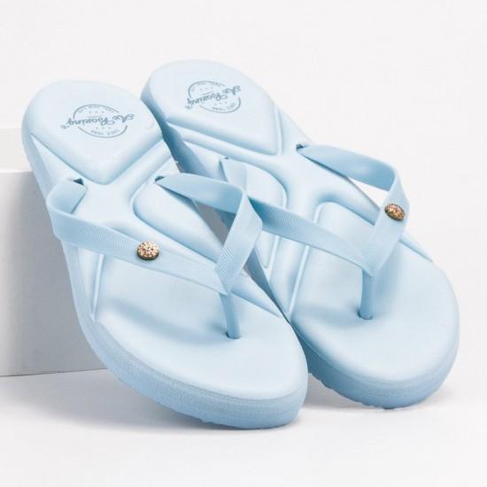 Slapi de plaja, gradina sau sala pentru femei, stil papuci, Bleu, Casual - Summer Luxury