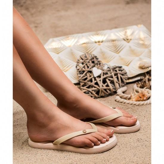 Slapi de plaja, gradina sau sala pentru femei, model papuci, Bej, Casual - Summer Luxury
