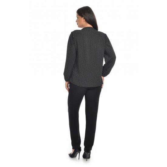 Bluza Dama cu Funda Ampla Neagra cu buline albe