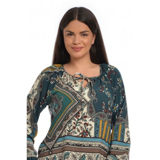 Bluza Ie Dama Verde cu Imprimeu Asimetric