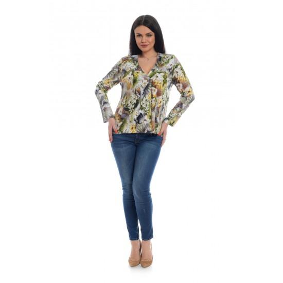 Bluza Dama Multicolora cu Imprimeu Floral si decolteu V