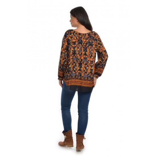 Bluza Dama Multicolora cu Imprimeu Combinat