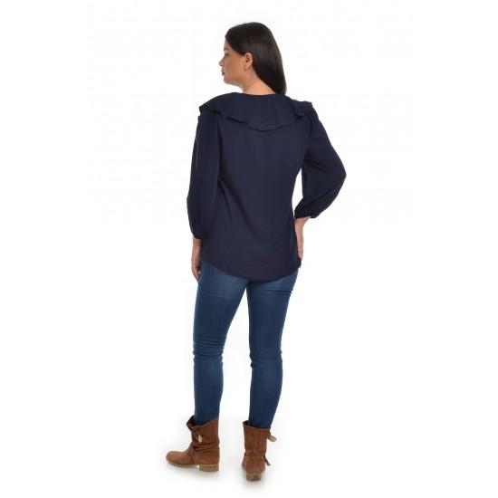 Bluza Dama Cu Volan Pictata Bleumarin