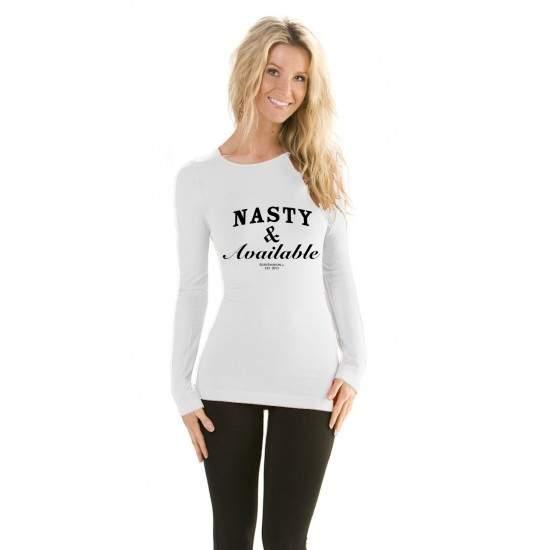 Bluza Nasty & Available - Alb