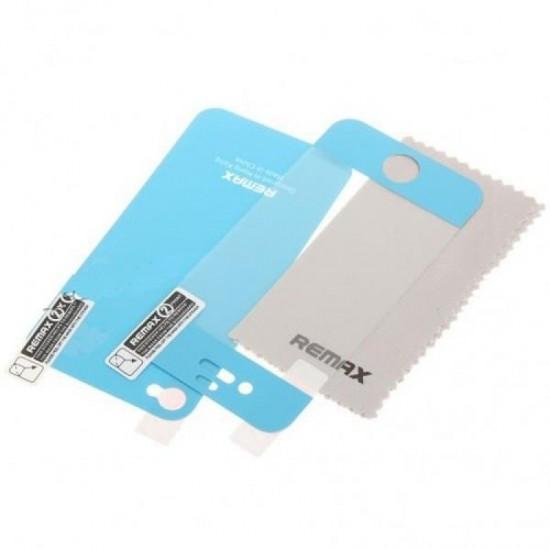 Folie iPhone 4/4S tip skin albastra fata si spate cu carpita curatare Remax