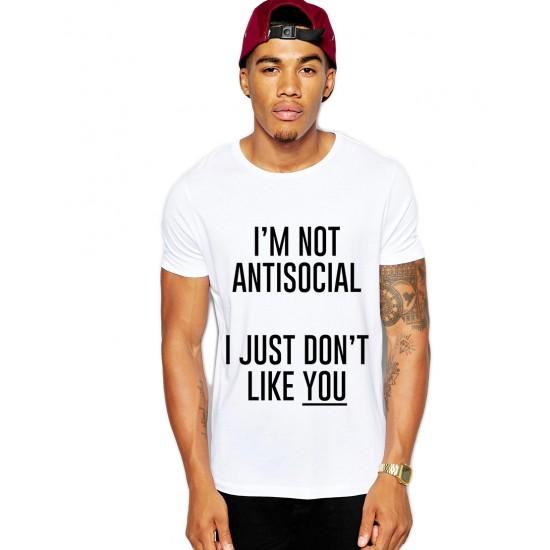 Tricou alb barbati - I'm not antisocial