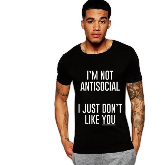 Tricou negru barbati -  I'm not antisocial