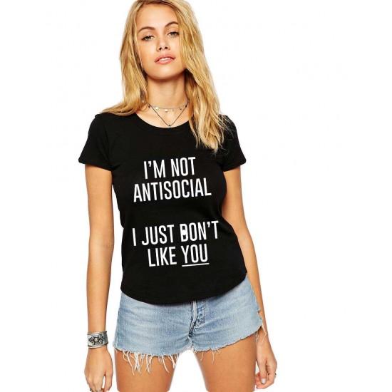 Tricou dama negru - I'm not antisocial