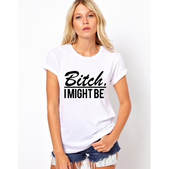 Tricou dama alb - Bitch