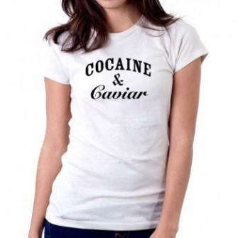 Tricou dama alb - Cocaine & Caviar