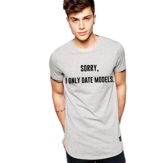 Tricou gri barbati - Sorry, i only date models