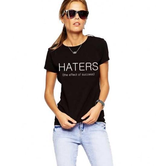 Tricou dama negru  - HATERS