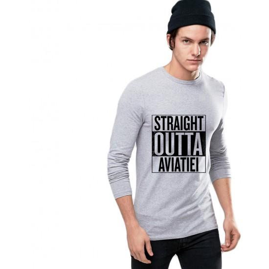 Bluza barbati gri cu text negru - Straight Outta Aviatiei