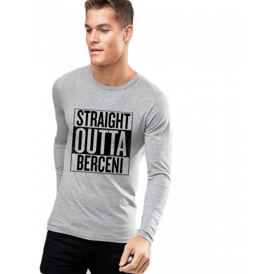 Bluza barbati gri cu text negru - Straight Outta Berceni