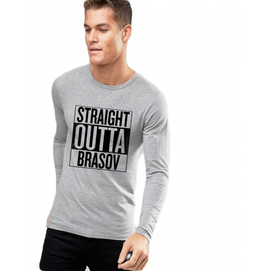 Bluza barbati gri cu text negru - Straight Outta Brasov