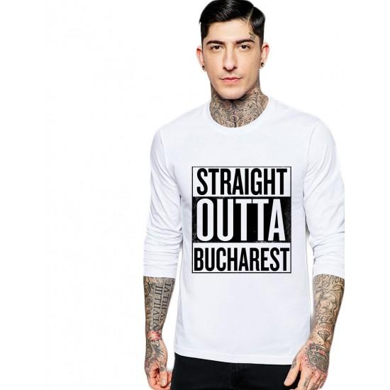 Bluza barbati alba - Straight Outta Bucuresti