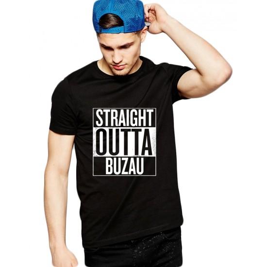 Tricou negru barbati - Straight Outta Buzau