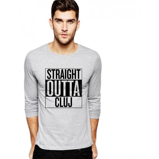 Bluza barbati gri cu text negru - Straight Outta Cluj