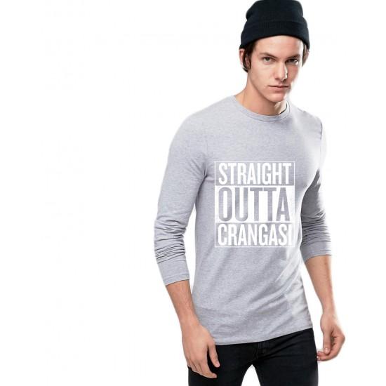 Bluza barbati gri cu text alb - Straight Outta Crangasi