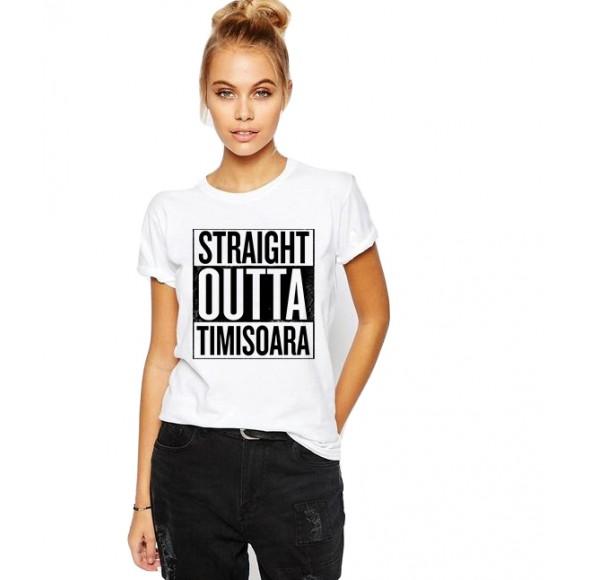 Tricou dama alb -  Straight Outta Timisoara