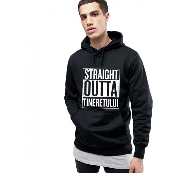 Hanorac Barbati Negru - Straight Outta Tineretului