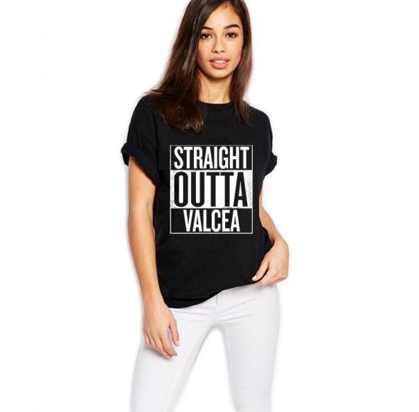 Tricou dama negru - Straight Outta Valcea