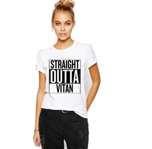 Tricou dama alb -  Straight Outta Vitan