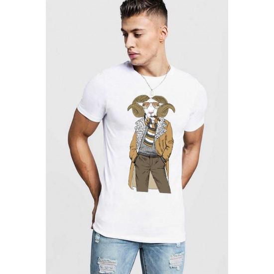 Tricou barbati alb - Berbec Fashion