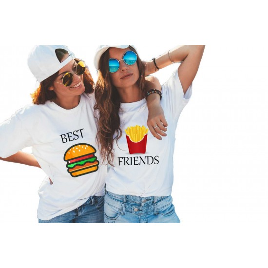 Set doua tricouri dama albe - Best Friends