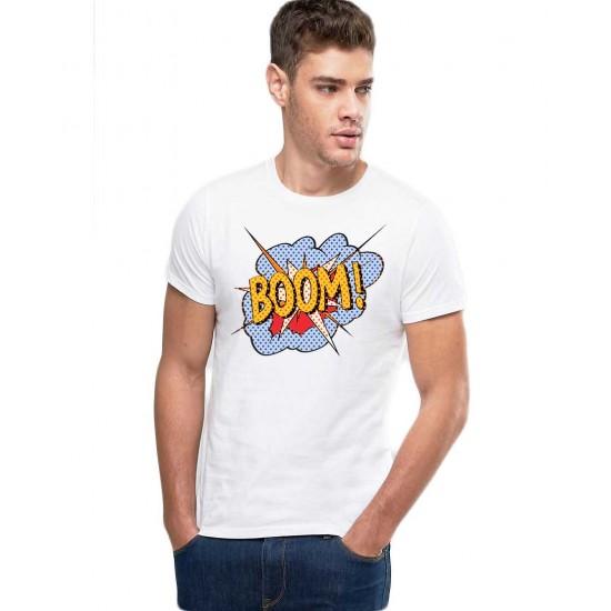 Tricou barbati alb - Boom