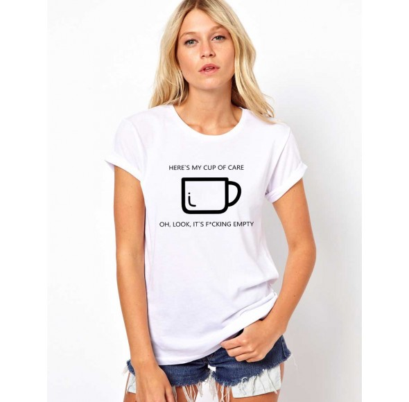 Tricou dama alb - Cup of care