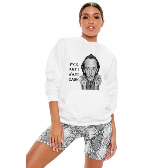 Hanorac dama alb - Dali - I want CASH