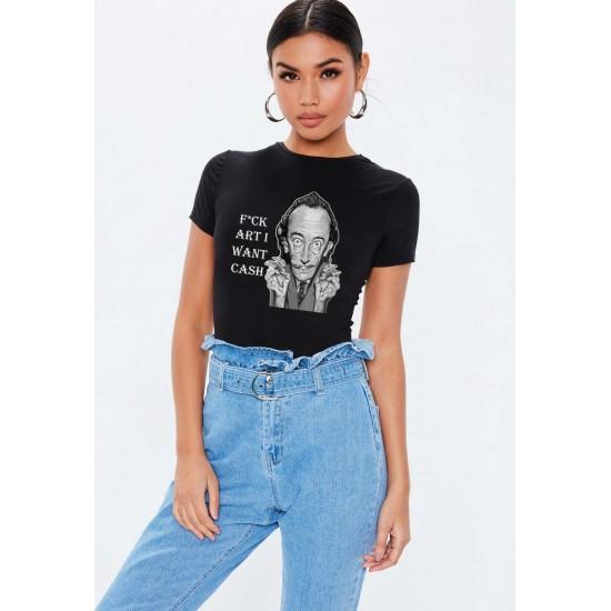 Tricou dama negru -  Dali - I want CASH