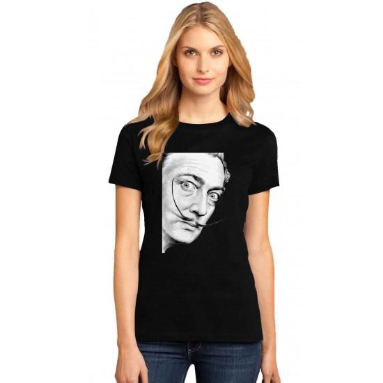 Tricou dama negru -  Dali - Portret