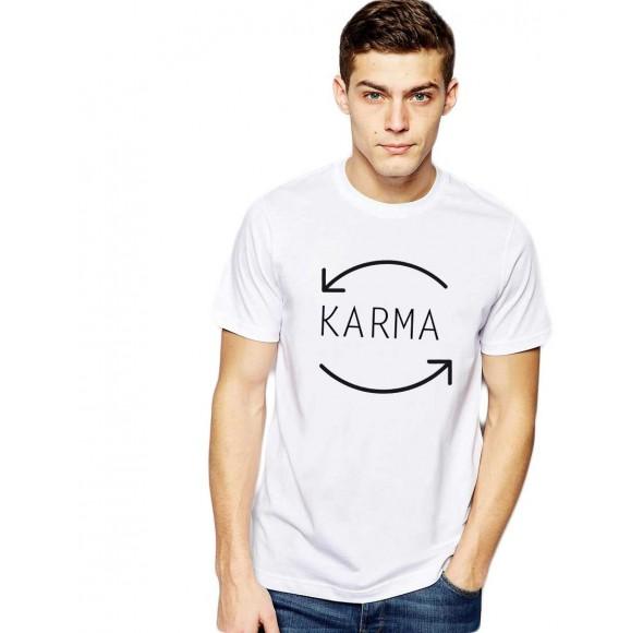 Tricou barbati alb - Karma