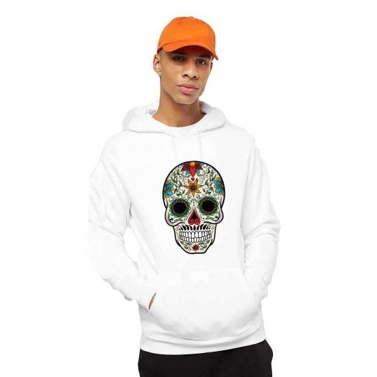 Hanorac Barbati Alb - Sugar Skull Colorful