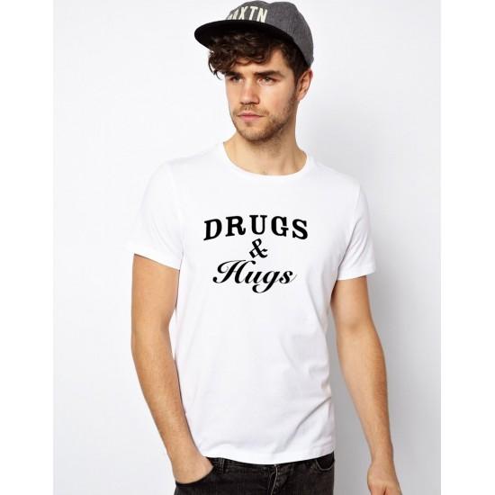 Tricou alb barbati Drugs & Hugs