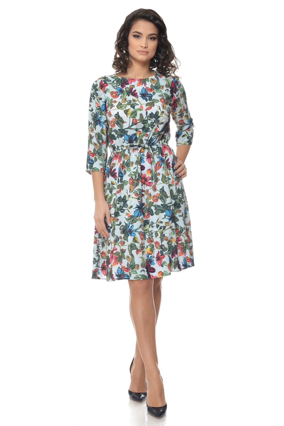 Rochie Multicolor cu snur in talie si model floral – Eranthe