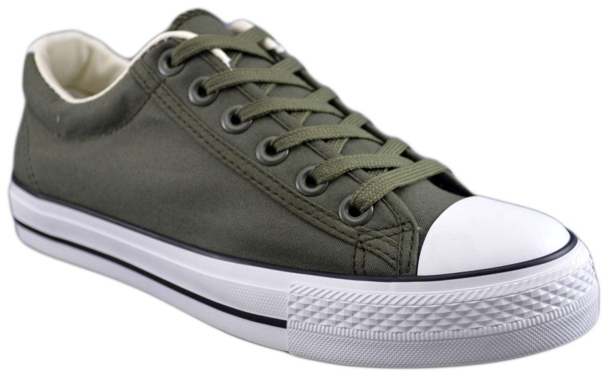 Tenisi barbati clasici Verde kaki cu dunga neagra