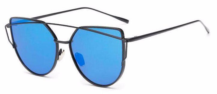 Ochelari de soare Ochi de Pisica Oglinda Albastru - Negru thumbnail